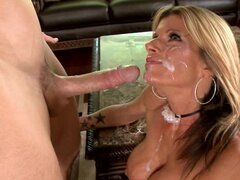 Kristal Summers gets her face sprayed with warm cum