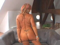 Kinky mature Karola gets toyed and fucked on a sofa