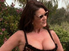 Slutty busty milf Raquel Devine sucks a pool cleaner's cock