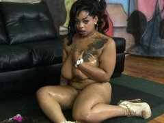 Plump Ebony Sucks The Fat Cock Whole