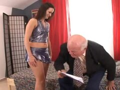 Claudia C sucks and rides some lewd old man's cock