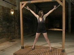 Lovely Brunette Is Left Hanging In The Air After Getting Tortured