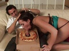 Sexy bored brunette does blowjob for pizza guy and has pussy licked