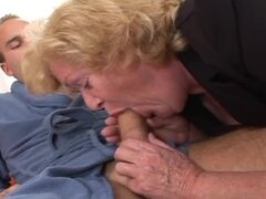 Blonde granny Alice sucks a cock before taking it hairy pussy