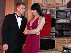Busty brunette rich bitch gets seduced and goes down for a stiff rod