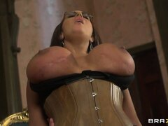 Her huge tits sensuously bounce as she passionately rides that big cock