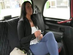 Amateur creampie jizzed in the back of a taxi