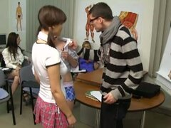 Five naughty cfnm schoolgirl teens fuck teacher