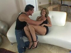 Sharona Gold is a stunningly hot MILF. Watch her get broken in by some stud.
