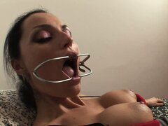 She blows her lady cock and gets a blowjob mask and eats her cum