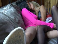 Nasty pussy fun with hot lesbians in pantyhose hardcore video