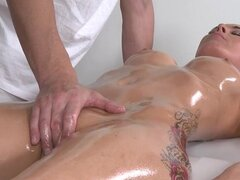 Hot oiled brunette babe gets massage fucked