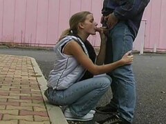 blond teen does blowjob outdoor