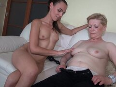Alluring granny is getting pleasure from young lady