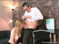 His horny old dick is eager for slutty young Lora to suck it