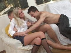 Hardcore threesome with a cute teen blonde