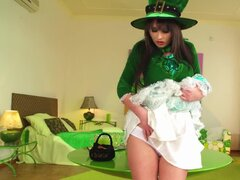 Irish outfit for busty solo masturbation girl