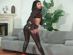 Gorgeous latina hottie in latex pants part3