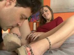 Pussy playing sexy feet brunette worshiped