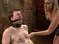 Blonde Dominatrix Plays with Her Sex Slave and Gets Him Fucked by a Guy