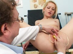 Gynecologist examines her pussy