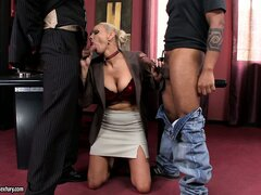 Stacked blonde has two dicks ready to fulfill her fantasies in the office