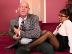 Jasmen puts her best foot forward for the boss and gives a footjob
