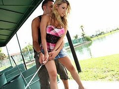 A couple go on a first date to a golf range and end up shagging outdoors