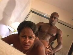 Sensual ebony being drilled by muscular black man