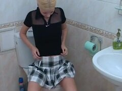 Blonde goes horny in solo