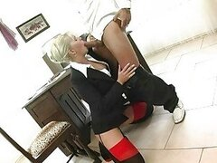Blonde secretary in sluty lingerie gets nailed in office