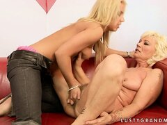 Blonde courtesan is obliged to lick that old and hairy beaver