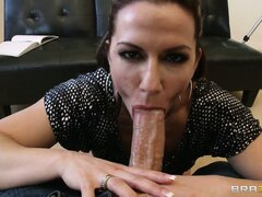 Brunette with fine ass sucks his large rod and he licks her ass