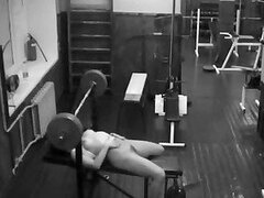 Security cam in the weight room tapes the naughty girl