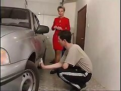 To thank her younger stud for his help the mature whore shags him senseless