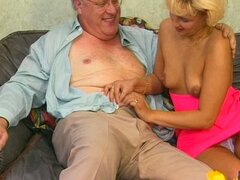 Cute blonde girl sucks old guy s cock...