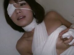 Big titty Azumi Harusaki is banged up like a mummy and her furry pussy is plundered