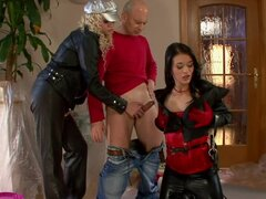 Leather pants girl fucked hard