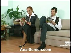 Strict looking office babe takes a hard offer gagging on meat for tail-job