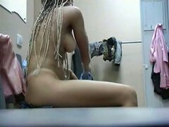 Blonde changing in changing room has wonderful tits
