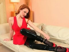 fine black pantyhose and redhead strip