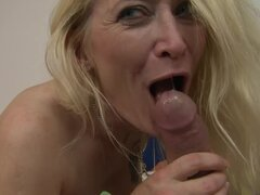 Blonde granny Angeline blows and gets fucked in the bathroom