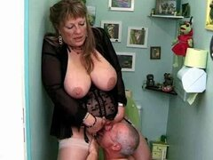 Big tittied old lady gets threesomed by two old guys