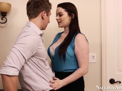 Tessa Lane trips up his tool with her tongue...
