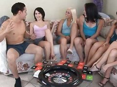 Spicy roulette video with 8 teens fucking