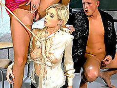 Blonde And Brunette Piss One Another As They Have A Threesome With A Hard Cock