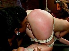 Fingering And Fucking A Spanked Brunette In BDSM Gangbang