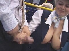 Busty stewardess public handjob in the bus - snake