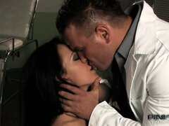 The stacked brunette with a perfect ass gets banged hard all over the hospital bed
