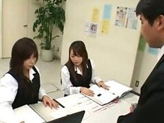 Two Japanese Teens Suck Dick in CFNM Office Blowjob